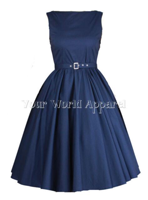 Hepburn Style Dress Navy Blue 1950's 1960's Rockabilly Evening Pinup Prom Retro