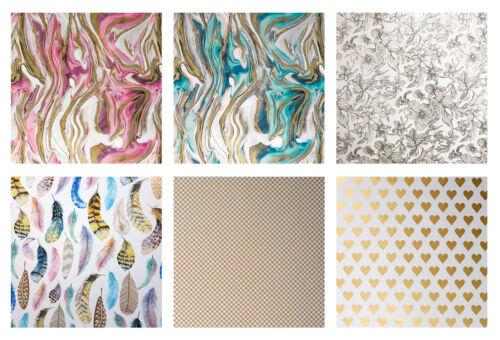 6 Rollen Geschenkpapier Geburtstag Neutral Motiv Muster Hochzeit Set Mix Pastell
