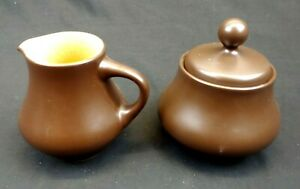 Noritake Folkstone Equator Creamer and Sugar Set Genuine Stoneware Brown