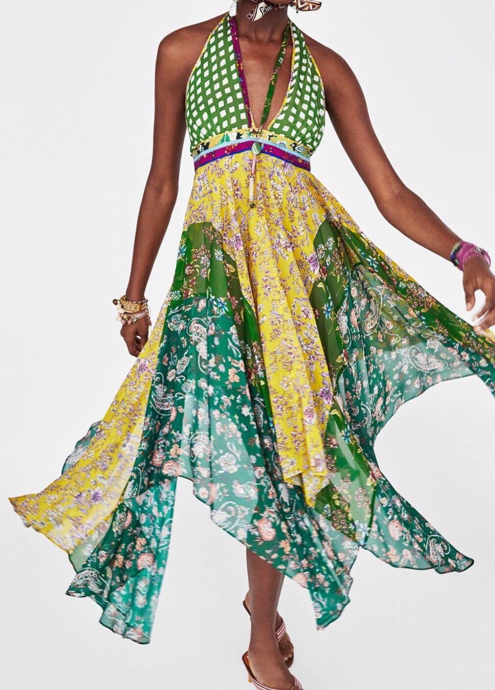 Zara ASYMMETRIC PATCHWORK DRESS SIZE  LARGE BNWT
