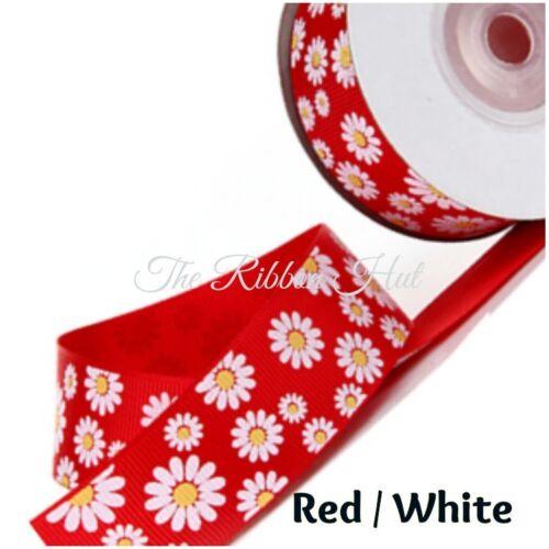 "Grosgrain Daisy Flower Print Ribbon-25mm 1/""inch -Per Metre-5 Colours"