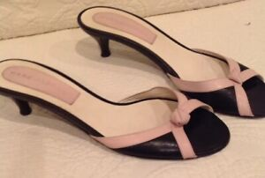 Marc-Jacobs-Women-039-s-Cute-Slip-On-Sandal-Heels-Leather-Black-Pink-Size-8m
