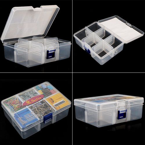 NEW Plastic 6 Compartments Portable Storage Container Organizer Tools Box Case