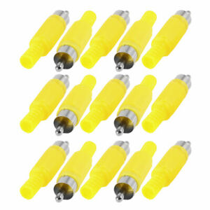 RCA-Male-Jack-Audio-Video-AV-Cable-Connector-Coverter-Adapter-Yellow-15-Pcs