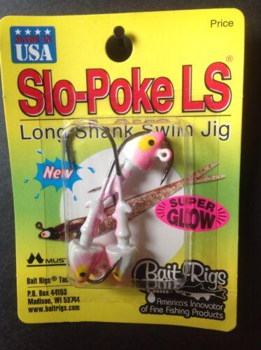 Slo-Poke LS Long Shank Swim Jig 1//4oz Pink White Glow XP-822