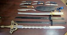 Large Lot Broken Worn Project Knives Swords Stainless Locking Sheath Parts Only