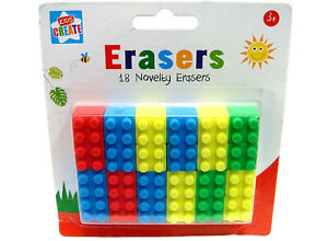 18-Novelty-Toy-Brick-Erasers-Rubbers-Back-to-School-Kids-Brick-Style-Block