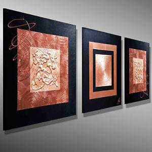 3D-KUNST KUPFER BILDER LEINWAND GOETHE Original HANDGEMALT 150x50 MALEREI ART