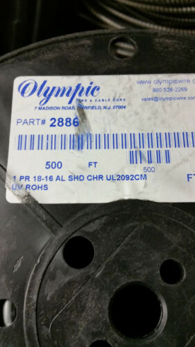 Olympic 2886 18//1P Shield Twist Pair Audio//Control Cable UV Resist USA Gy//50ft