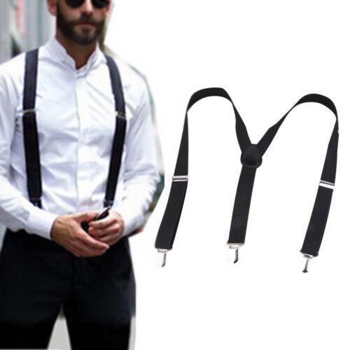 Mens Braces Suspenders Black 23mm Y Back Heavy Duty Biker Snowboard Trousers