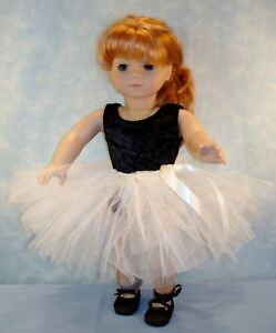 18 Inch Doll Clothes - Ivory and Black Tutu Outfit handmade by Jane Ellen