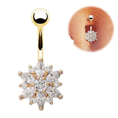 Gold Rose Gold Belly Button Bars Flower Crystal Navel Ring Body Bar Piercing Ebay