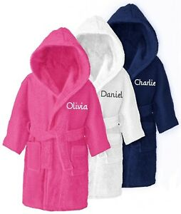 Personalised-Children-039-s-Hooded-Toweling-Bathrobe-Kids-Dressing-Gown-Age-4-14