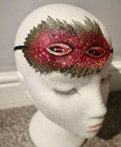 Pink Peacock Feather Headband Vintage 1920s Headpiece Gatsby Flapper