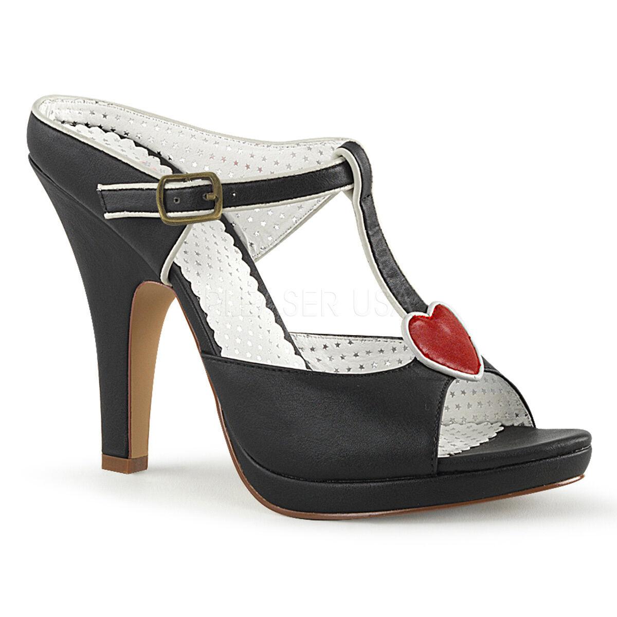 Sexy 4' High Heel Mini Platform T-Strap Shoes Slides w/ Heart Accent SIR09/BPU