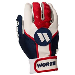 Worth Team Batting Gloves RED//WHITE//BLUE large new