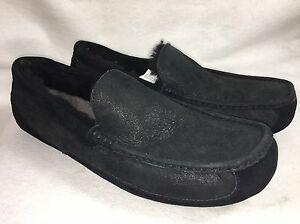 79ae3284cf0 Image is loading UGG-ASCOT-BOMBER-BLACK-SUEDE-SHEEPSKIN-SLIPPERS-MOCCASIN-