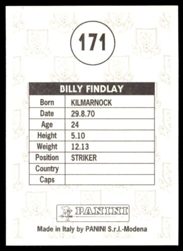 171 Panini Scottish Premier División 95-Bill Findlay Hibernian no