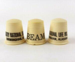 Vintage Lot 3 Thimbles Advertising Beam Whiskey Alabama