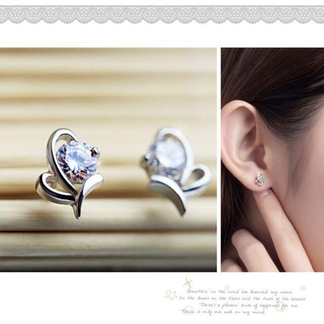Jewelry Crystal New Fashion Shiny Heart Shape Earrings Stud Silver Plated