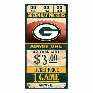 Green-Bay-Packers-Old-Game-Ticket-Holzschild-30-cm-NFL-Football-Wood-Sign