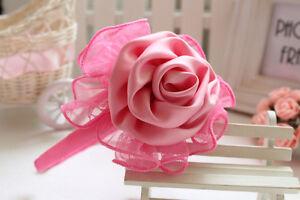 Baby-Girls-Hot-Pink-Satin-Rose-Headband-Hairband-Princess-Newborn-Christening