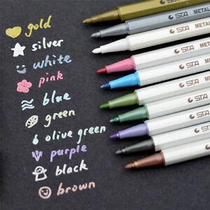 Plumas-marcador-Metalico-Oro-Plata-Tinta-de-Color-Blanco-para-coleccion-de-recortes-elaboracion-de