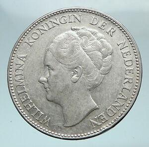 1938-Netherlands-Kingdom-w-Queen-WILHELMINA-Antique-Silver-1-Gulden-Coin-i81047