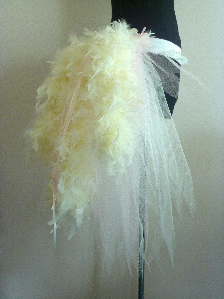 Pink Ivory Burlesque Bustle Belt size XS S M L XL Sexy Bride Fancy Dress