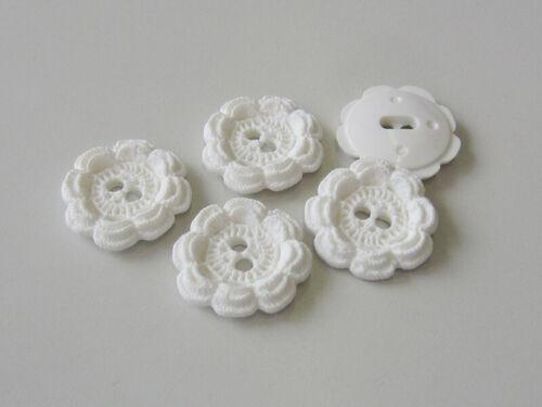 8 Blanche Plastique Boutons presque comme Bonnet au crochet fleurs 5280we
