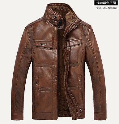 Men's Genuine leather Sheepskin fur coat jacket stand collar soft warm winter