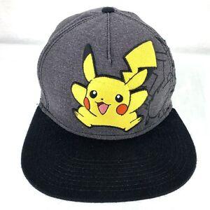 Image is loading Pokemon-Pikachu-Snapback-Baseball-Cap-Hat-Nintendo-Black- 410ac5eee603