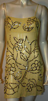 Bcbg Yellow Gold Sequin Silk Top Shell Tunic Cami $160 S Evening Cocktail