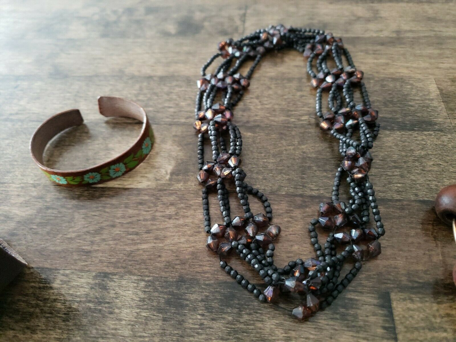 Costume Jewelry Lot Brown Necklace Bracelet Earin… - image 4