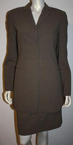 DONNA KARAN Brown Tweed Wool Skirt Suit US 8 Long