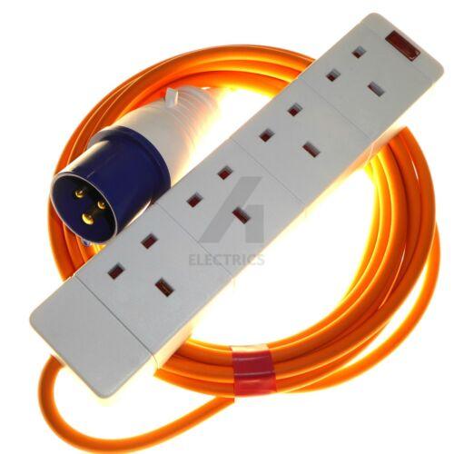 16 amp 230V mains hookup 4 gang socket arctic orange 1.5mm high visibility cable