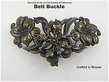 Art Nouveau Bronze Belt Buckle Foliate Decoration Genuine of the period Antique