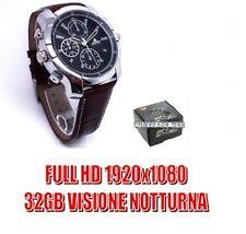 OROLOGIO SPIA 32GB PELLE FULL HD 1080P INFRAROSSO VISIONE NOTTURNA SPY CAM CW132