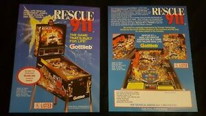 1x Rescue 911 - Gottlieb - ORIGINAL NOS Promotional Advertising Flyer