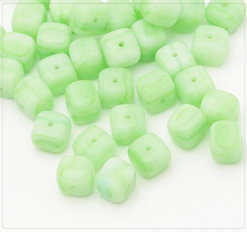 20x Tchèque Perles De Verre Bijoux Bricolage Beads À faire soi-même Cube 6 mm vert cz058