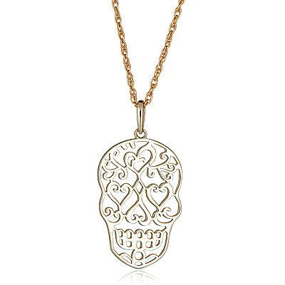 AVORA 10K Gold Two-Tone Heart Filigree Diamond Cut Pendant Necklace with 18 Chain