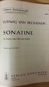 AgréAble Beethoven: Sonatine Pour Violon Ou Flûte Et Guitare: Musique-afficher Le Titre D'origine Moderne Et EléGant à La Mode
