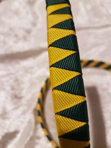Handmade Boutique School Hairband Alice Band zigzag dark green//yellow