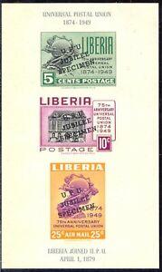 Liberia-1950-75-ans-Union-postale-universelle-UPU-bloc-3-postfr-Kab-SPECIMEN-inscriptions