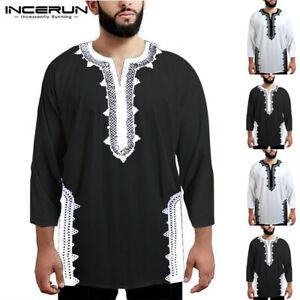 FASHION-AFRICA-Dashiki-Uomo-Collo-a-V-T-Shirt-Hippy-Formale-Etnico-Top-Casual-UK