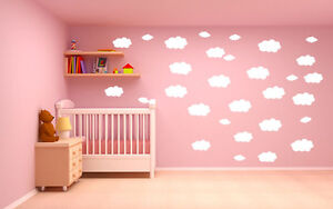 15x aufkleber wandtattoo wolken kinderzimmer deko f r wand. Black Bedroom Furniture Sets. Home Design Ideas