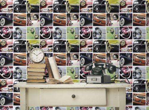 Wow Voitures Classiques Multi Couleurs Papier Peint Multicolore Designer caractéristique mur