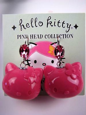 Tarina Tarantino Sanrio Hello Kitty Pink Head Crystal Dangle Earrings, *LAST 1*