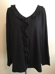Jones-NY-Women-039-s-Knit-Top-Plus-Sz-3X-NWT-Black-Ruffle-Shirt-Long-Sleeve-Blouse
