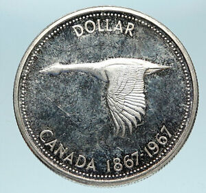 1967-CANADA-Confederation-Founding-OLD-Goose-Genuine-Silver-Dollar-Coin-i83264